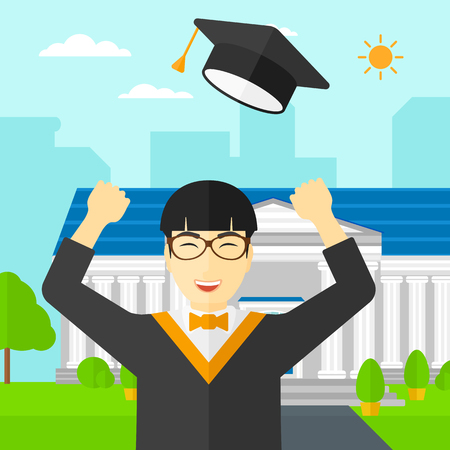 graduate asian: An asian graduate throwing up his hat on the background of educational building vector flat design illustration. Square layout.