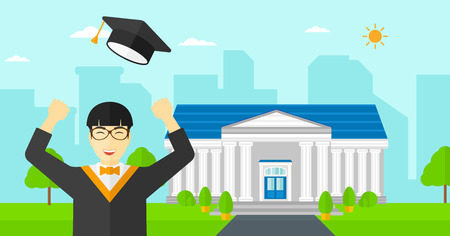 graduate asian: An asian graduate throwing up his hat on the background of educational building vector flat design illustration. Horizontal layout. Illustration