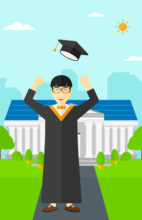 graduate asian: An asian graduate throwing up his hat on the background of educational building vector flat design illustration. Vertical layout.