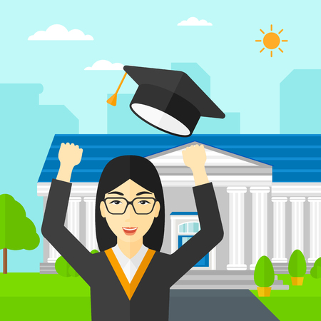 woman throwing: An asian happy woman throwing up her hat on the background of educational building vector flat design illustration. Square layout. Illustration