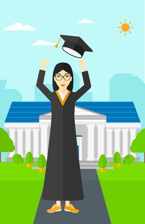 アジアの幸せな女性の教育の背景に彼女の帽子を投げるベクトル フラット設計図を構築します。縦型レイアウト。  イラスト・ベクター素材