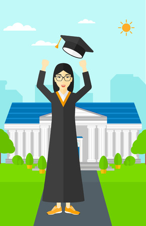 woman throwing: An asian happy woman throwing up her hat on the background of educational building vector flat design illustration. Vertical layout.