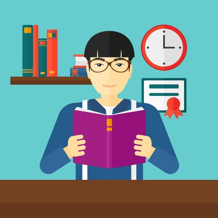 reading room: An asian man reading a book on the background of room vector flat design illustration. Square layout.