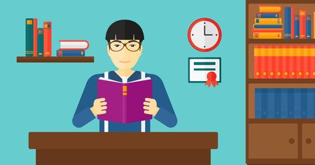 science education: An asian man reading a book on the background of room vector flat design illustration. Horizontal layout.