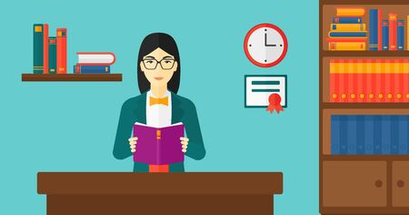 cartoon school girl: An asian woman reading a book on the background of room vector flat design illustration. Horizontal layout.