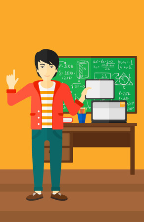 e book device: An asian man standing with a tablet computer and pointing his forefinger up on the background of classroom vector flat design illustration. Vertical layout.