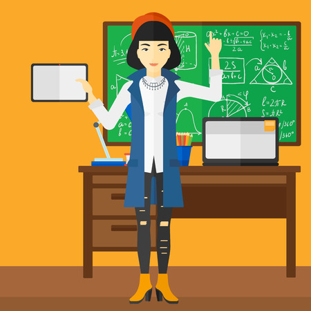 woman pointing up: An asian woman standing with a tablet computer and pointing her forefinger up on the background of classroom vector flat design illustration. Square layout. Illustration