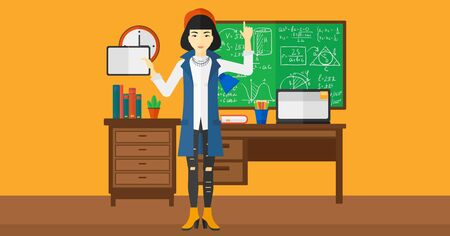 e book device: An asian woman standing with a tablet computer and pointing her forefinger up on the background of classroom vector flat design illustration. Horizontal layout.