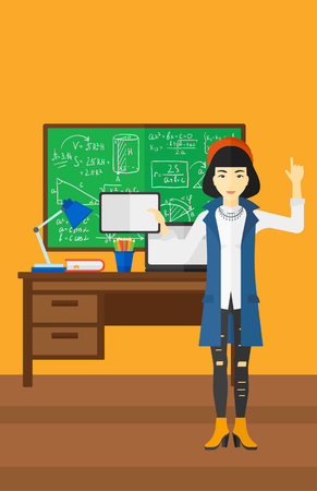 woman pointing up: An asian woman standing with a tablet computer and pointing her forefinger up on the background of classroom vector flat design illustration. Vertical layout. Illustration
