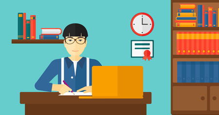 taking notes: An asian man sitting in front of laptop and taking some notes on the background of room vector flat design illustration. Horizontal layout.