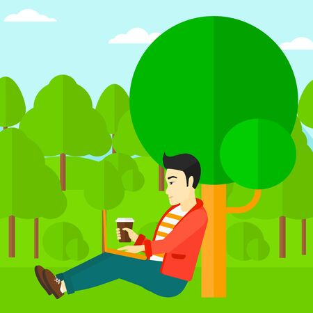 asian man laptop: An asian man with cup of coffee studying in park using a laptop vector flat design illustration. Square layout.