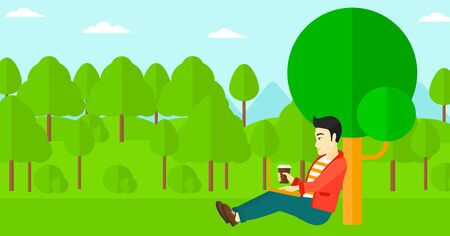 An asian man with cup of coffee studying in park using a laptop vector flat design illustration. Horizontal layout. Ilustração