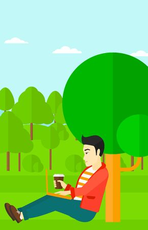 asian man laptop: An asian man with cup of coffee studying in park using a laptop vector flat design illustration. Vertical layout. Illustration