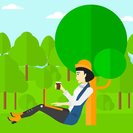 woman using laptop: An asian  woman with cup of coffee studying in park using a laptop vector flat design illustration. Square layout. Illustration