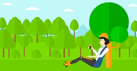woman using laptop: An asian woman with cup of coffee studying in park using a laptop vector flat design illustration. Horizontal layout.
