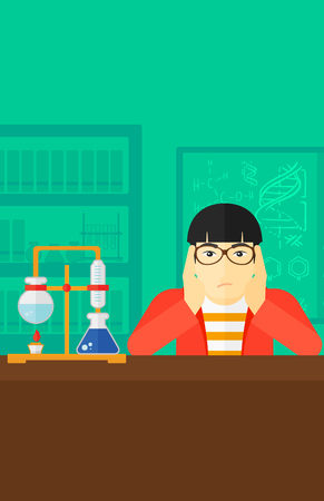 stress test: An asian man clutching his head on the background of chemistry laboratory vector flat design illustration. Vertical layout. Illustration