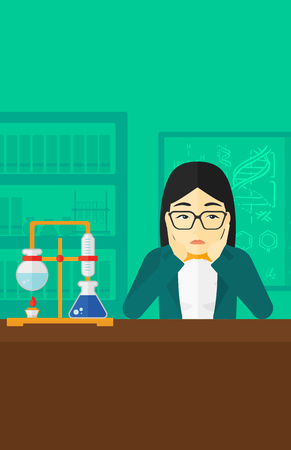 despair: An asian woman in despair clutching her head on the background of chemistry laboratory vector flat design illustration. Vertical layout.