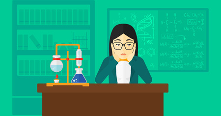 Una donna asiatica in preda alla disperazione stringendo la testa sul fondo di design piatto illustrazione chimica di laboratorio vettoriale. layout orizzontale.