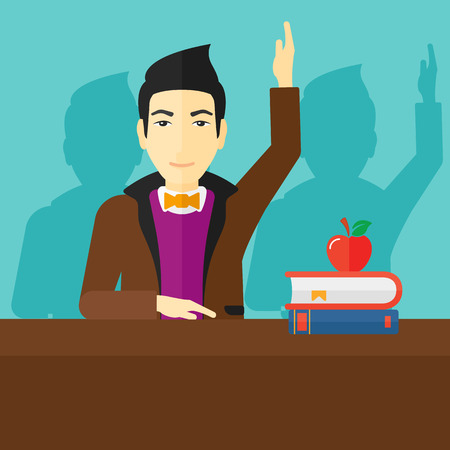 university students: An asian man raising his hand while sitting at the table on a blue backgrond vector flat design illustration. Square layout. Illustration