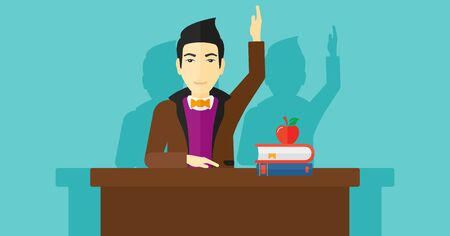 university students: An asian man raising his hand while sitting at the table on a blue backgrond vector flat design illustration. Horizontal layout. Illustration