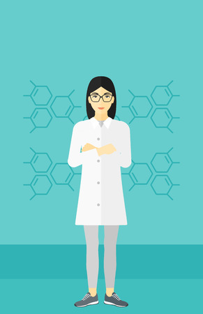 assistant: An asian laboratory assistant on a blue background with molecular structure vector flat design illustration. Vertical layout. Illustration