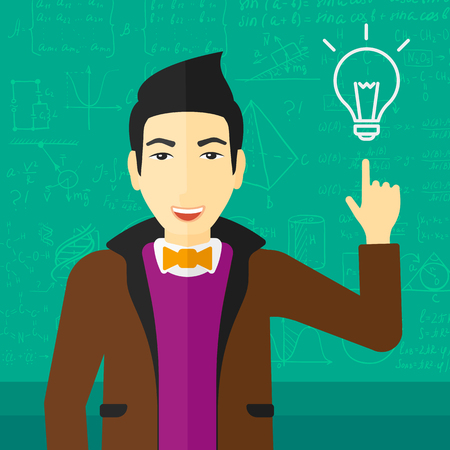 person thinking: An asian man pointing a finger at the light bulb on the background of green blackboard with mathematical equations vector flat design illustration. Square layout.