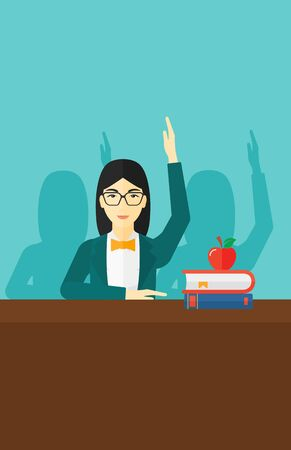 An asian woman raising her hand while sitting at the table on a blue backgrond vector flat design illustration. Vertical layout.