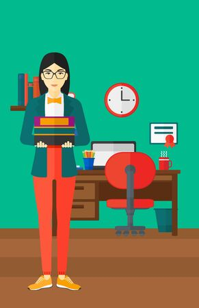 An asian woman holding pile of books on the background of room vector flat design illustration. Vertical layout. 矢量图像