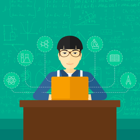 asian man laptop: An asian man sitting at the table and working on a laptop connected with icons of school sciences on the background of green blackboard vector flat design illustration. Square layout.