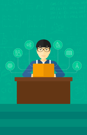 sciences: An asian man sitting at the table and working on a laptop connected with icons of school sciences on the background of green blackboard vector flat design illustration. Vertical layout.
