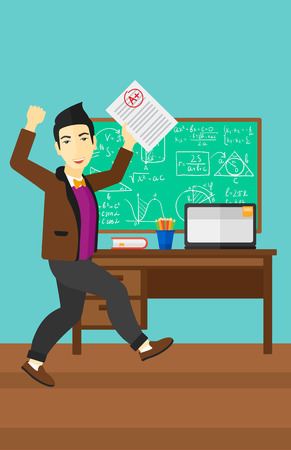 An asian pupil holding a sheet with the highest mark on the background of classroom vector flat design illustration. Vertical layout.