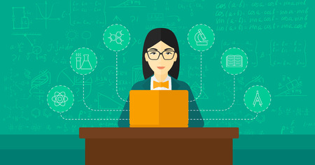 connect people: An asian woman sitting at the table and working on a laptop connected with icons of school sciences on the background of green blackboard vector flat design illustration. Horizontal layout.