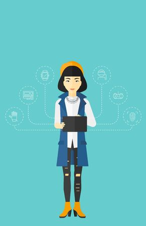 computer education: An asian woman with a tablet computer and some icons connected to the device on a light blue background vector flat design illustration. Vertical layout. Illustration