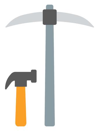 Mining pick and hammer vector flat design illustration isolated on white background. Stock Illustratie