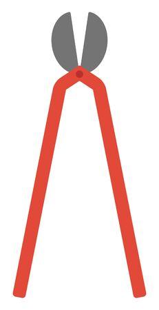 one trim: Red garden pruner vector flat design illustration isolated on white background.