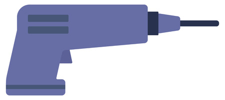 refit: Electric hand drill vector flat design illustration isolated on white background.
