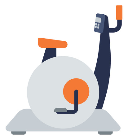 cardiovascular exercising: Stationary exercise bike vector flat design illustration isolated on white background.