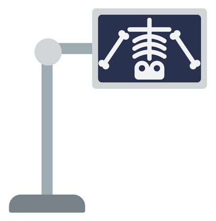 x ray equipment: X-ray machine with image of skeleton vector flat design illustration isolated on white background.