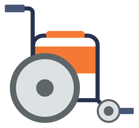 Side view of empty wheelchair vector flat design illustration isolated on white background.