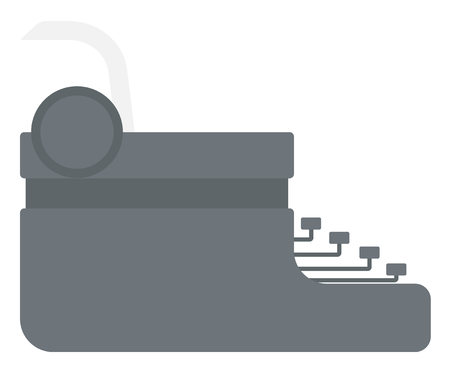 typing machine: Typewriter with sheet of paper vector flat design illustration isolated on white background. Illustration