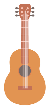 fret: Classical acoustic guitar vector flat design illustration isolated on white background.