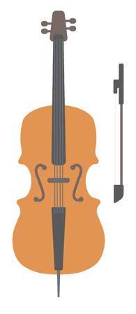 concerto: Wooden cello with bow vector flat design illustration isolated on white background.