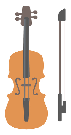 fingerboard: Wooden violin with bow vector flat design illustration isolated on white background.