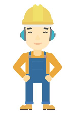 yellow hard hat: An asian man wearing a yellow hard hat and headphones vector flat design illustration isolated on white background. Vertical layout. Illustration