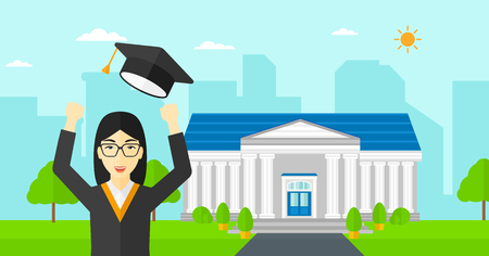 the alumnus: An asian happy woman throwing up her hat on the background of educational building vector flat design illustration. Horizontal layout. Illustration