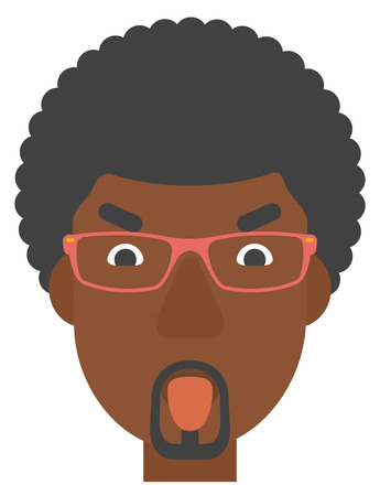 manners: An african-american contemptuous man in glasses sticking out his tongue vector flat design illustration isolated on white background. Vertical layout. Illustration