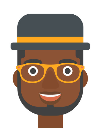 euphoric: An african-american cheerful man laughing ecstatically vector flat design illustration isolated on white background. Vertical layout.