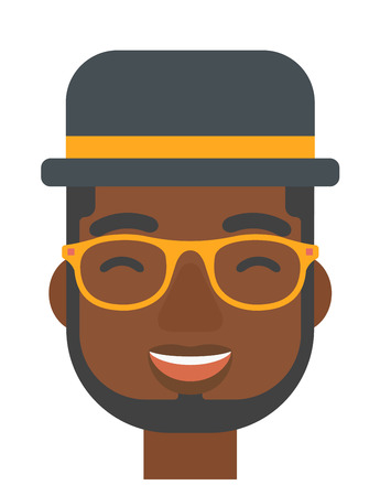 euphoria: An african-american cheerful man experiencing euphoria vector flat design illustration isolated on white background. Vertical layout.