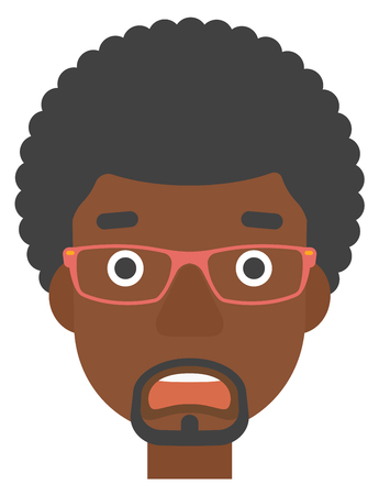 scared man: An african-american scared man with open mouth vector flat design illustration isolated on white background. Vertical layout. Illustration