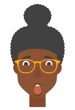 woman mouth open: An african-american scared woman with open mouth vector flat design illustration isolated on white background. Vertical layout. Illustration